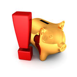 Golden piggy bank or money box on white background Royalty Free Stock Photo