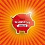 Golden Piggy Bank Retro Sun Savingsday Royalty Free Stock Photos