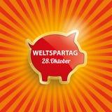Golden Piggy Bank Retro Sun Weltspartag Stock Images