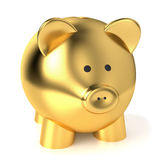 Golden Piggy Bank Savings Concept. Financial, savings and business concept with a golden piggy bank or money box on white background Royalty Free Stock Photography