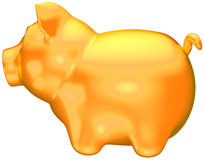 Golden piggy bank side view isolated Stock Images