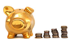 Golden piggy bank and stacks of coins Royalty Free Stock Photo
