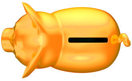 Golden piggy bank top view isolated Royalty Free Stock Photography