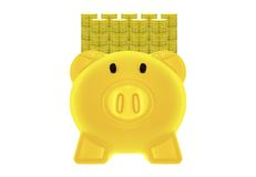 Golden Piggy Bank yellow and gold coins. Stock Image