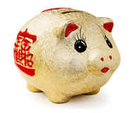 Golden piggy moneybox. Chinese golden piggy moneybox against white background Royalty Free Stock Images