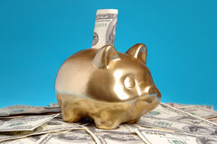 Golden piggybank. With 100 US dollar bill inserted into slot placed on pile of US dollar banknotes over blue background Royalty Free Stock Photography