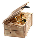 Golden piggybank in box with wood-wool Royalty Free Stock Images