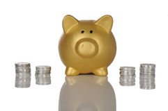 Golden Piggybank With Coins Royalty Free Stock Photos