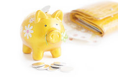 Golden piggybank with coins Stock Image