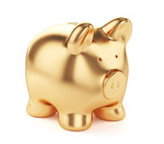 Golden piggybank. 3d render of golden piggybank  on white background Stock Photography