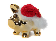 Golden piggybank with jelly bag cap Stock Photography