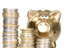 Free Golden Piggybank With Money Near By It Royalty Free Stock Photo - 22883535