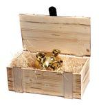 Golden piggybank in wooden case Stock Images