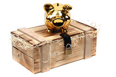 Golden piggybank on wooden case locked with padloc Stock Photography