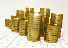 Golden piles of coin on financial grap. 3D render. Golden piles of coin on financial graph - 3D render Royalty Free Stock Image