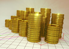Golden piles of coin on financial graph. 3D render Royalty Free Stock Photo
