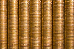Golden piles of coins. Texture Stock Photos