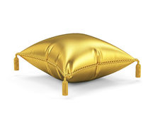 Golden pillow isolated on white background Stock Photo