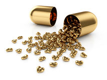 Golden pills. 3d illustration of golden pills laid out as a heart shape Stock Images