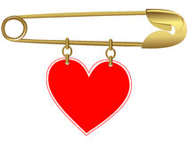 Golden Pin with a Heart Royalty Free Stock Images