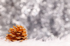 Golden pine cone and bokeh background Royalty Free Stock Photos