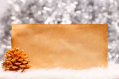 Golden pine cone with old paper Stock Images