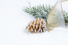 Golden Pine Cone with Ribbon and Fir Branch on sno Stock Photos