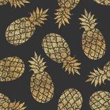 Golden pineapples seamless vector pattern on black background. vector illustration