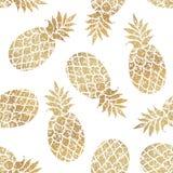 Golden pineapples seamless pattern on white background. stock illustration