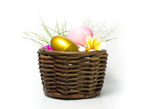 Golden and pink Easter egg Stock Images