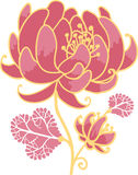 Golden and pink flower design element Stock Photography