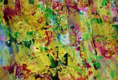 Gold pink green muddy playful spots, forms, abstract pastel hues. Golden pink red green blue golden muddy playful forms and spots in pastel vivid hues are placed stock photos