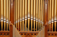 Golden Pipe organ royalty free stock photo