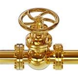 Golden pipe valve 3D illustration. Golden pipe with valve 3d illustration on white background Stock Photo