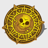 Golden pirate medallion with symbol of the skull. And ornament Royalty Free Stock Photo