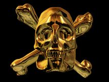 Golden Pirate Skull. A pirate skull made in Gold Royalty Free Stock Photo