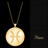 Golden Pisces Pendant Necklace  Stock Photo