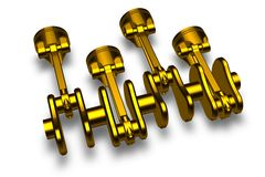 Golden pistons & cranckshaft Royalty Free Stock Photo