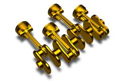 Golden pistons & cranckshaft Stock Photography
