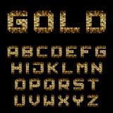 Golden pixel alphabet font letters Stock Image