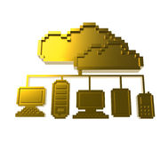 Golden pixel cloud network icon Stock Images