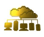 Golden pixel cloud network icon Stock Images