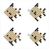 Golden Pixel Fish, Geometric Fish. Consisting of color Squares, Polygonal Fish Silhouette on white background Stock Photo