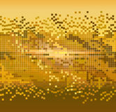 Golden pixels background. Golden shiny pixels mosaic background - vector illustration Royalty Free Stock Image