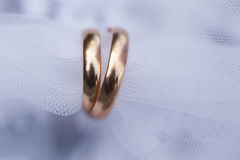 Golden smoth wedding rings in on white veil of bride Royalty Free Stock Photography