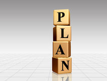 Golden Plan. Plan - golden boxes with black letters over white-grey background Royalty Free Stock Photo