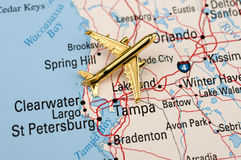 Golden Plane in Central Florida. Golden Plane in Central Florida with Popular Cities Stock Photo