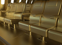 Golden plane seats Royalty Free Stock Image