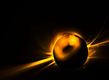 Golden planet. Fiery planet in depths of space Royalty Free Stock Photography