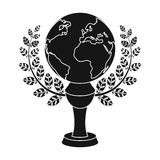 Golden planet with a wreath.The trophy for the best film about the Earth.Movie awards single icon in black style vector Stock Image